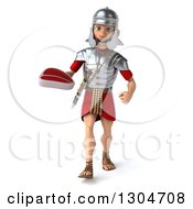 Clipart Of A 3d Young Male Roman Legionary Soldier Walking And Holding A Beef Steak Royalty Free Illustration