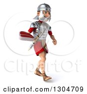 Clipart Of A 3d Young Male Roman Legionary Soldier Walking Slightly To The Right And Holding A Beef Steak Royalty Free Illustration