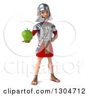 Clipart Of A 3d Young Male Roman Legionary Soldier Holding Out A Green Bell Pepper Royalty Free Illustration
