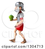 Clipart Of A 3d Young Male Roman Legionary Soldier Walking To The Left And Holding A Green Bell Pepper Royalty Free Illustration