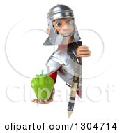 Clipart Of A 3d Young Male Roman Legionary Soldier Holding A Green Bell Pepper Around A Sign 2 Royalty Free Illustration