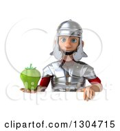 Clipart Of A 3d Young Male Roman Legionary Soldier Holding A Green Bell Pepper Over A Sign Royalty Free Illustration