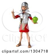 Clipart Of A 3d Young Male Roman Legionary Soldier Holding Up A Finger And A Green Bell Pepper Royalty Free Illustration