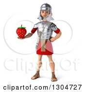 Clipart Of A 3d Young Male Roman Legionary Soldier Holding A Strawberry Royalty Free Illustration