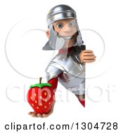 Clipart Of A 3d Young Male Roman Legionary Soldier Holding A Strawberry Around A Sign Royalty Free Illustration