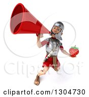 Clipart Of A 3d Young Male Roman Legionary Soldier Holding A Strawberry And Announcing Upwards With A Megaphone Royalty Free Illustration