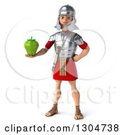 Clipart Of A 3d Young Male Roman Legionary Soldier Holding A Green Bell Pepper Royalty Free Illustration