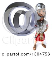 Clipart Of A 3d Young Male Roman Legionary Soldier Holding Up An Email Arobase At Symbol Royalty Free Illustration by Julos