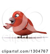 Clipart Of A 3d Red Bird Shrugging And Facing Left Royalty Free Illustration