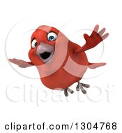 Clipart Of A 3d Red Bird Flying Left Royalty Free Illustration