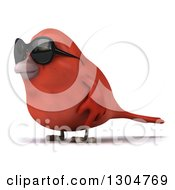 Clipart Of A 3d Red Bird Wearing Sunglasses And Facing Left Royalty Free Illustration