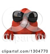 Clipart Of A 3d Red Bird Wearing Sunglasses Over A Sign Royalty Free Illustration by Julos
