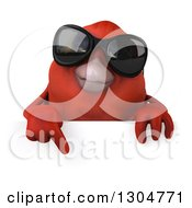 Clipart Of A 3d Red Bird Wearing Sunglasses And Pointing Down Over A Sign Royalty Free Illustration