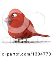 Clipart Of A 3d Red Bird Facing Left Royalty Free Illustration
