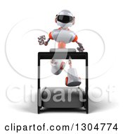 Clipart Of A 3d White And Orange Robot Running On A Treadmill Royalty Free Illustration