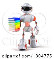 Clipart Of A 3d White And Orange Robot Walking And Holding A Stack Of Books Royalty Free Illustration