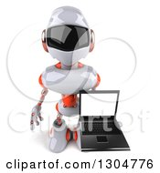Clipart Of A 3d White And Orange Robot Holding Up A Laptop With A Blank Screen Royalty Free Illustration