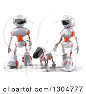 Clipart Of A 3d White And Orange Robot Couple Walking With A Dog Royalty Free Illustration