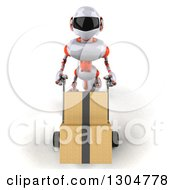 Clipart Of A 3d White And Orange Robot Looking Up And Moving Boxes On A Dolly Royalty Free Illustration