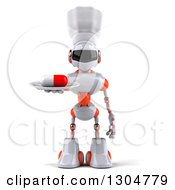 Clipart Of A 3d White And Orange Robot Chef Serving A Pill On A Plate Royalty Free Illustration
