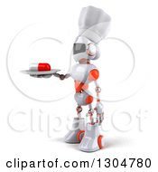 Clipart Of A 3d White And Orange Robot Chef Facing Left And Serving A Pill On A Plate Royalty Free Illustration