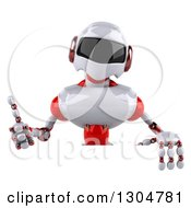 Clipart Of A 3d White And Red Robot Giving A Thumb Up Over A Sign Royalty Free Illustration