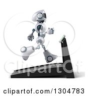 Clipart Of A 3d White And Blue Robot Facing Right And Running On A Treadmill Royalty Free Illustration