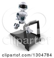 Clipart Of A 3d White And Blue Robot Facing Slightly Right And Running On A Treadmill Royalty Free Illustration