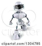 Clipart Of A 3d White And Blue Robot Looking Up And Walking Royalty Free Illustration