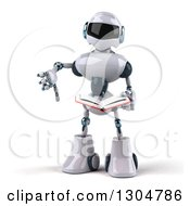 Clipart Of A 3d White And Blue Robot Holding A Thumb Down And Reading A Book Royalty Free Illustration