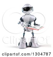 Clipart Of A 3d White And Blue Robot Pointing To And Reading A Book Royalty Free Illustration