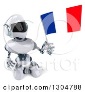 Clipart Of A 3d White And Blue Robot Holding Up A French Flag Royalty Free Illustration