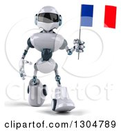 Clipart Of A 3d White And Blue Robot Walking And Holding A French Flag Royalty Free Illustration