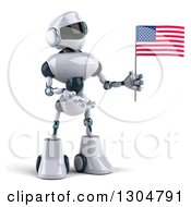 Clipart Of A 3d White And Blue Robot Holding And Presenting An American Flag Royalty Free Illustration