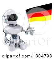 Clipart Of A 3d White And Blue Robot Holding Up A German Flag Royalty Free Illustration