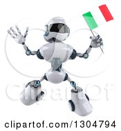 Clipart Of A 3d White And Blue Robot Jumping With An Italian Flag Royalty Free Illustration