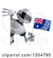 Clipart Of A 3d White And Blue Robot Holding An Australian Flag Around A Sign Royalty Free Illustration