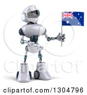 Clipart Of A 3d White And Blue Robot Holding And Presenting An Australian Flag Royalty Free Illustration