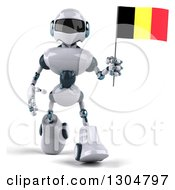 Clipart Of A 3d White And Blue Robot Walking With A Belgium Flag Royalty Free Illustration