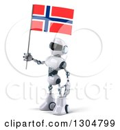 Clipart Of A 3d White And Blue Robot Facing Left And Holding A Norway Flag Royalty Free Illustration