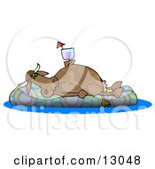 Happy Cow Drinking A Beverage And Relaxing On A Floatation In A Swimming Pool Clipart Illustration by Dennis Cox
