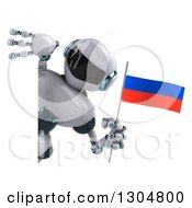 Clipart Of A 3d White And Blue Robot Holding A Russian Flag Around A Sign 2 Royalty Free Illustration