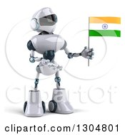Clipart Of A 3d White And Blue Robot Holding And Presenting An Indian Flag Royalty Free Illustration