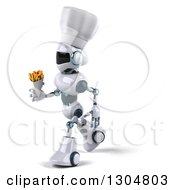 Clipart Of A 3d White And Blue Robot Chef Walking To The Left With French Fries Royalty Free Illustration