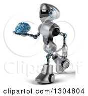 Clipart Of A 3d Silver Male Techno Robot Walking To The Left And Holding A Blue Glass Brain Royalty Free Illustration by Julos