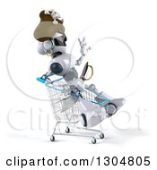 Clipart Of A 3d Pirate Techno Robot Facing Right Sitting And Waving In A Shopping Cart Royalty Free Illustration