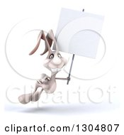 Clipart Of A 3d White Bunny Rabbit Hopping To The Right And Holding A Blank Sign Royalty Free Illustration by Julos