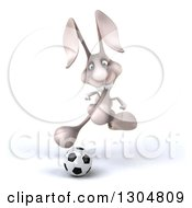 Clipart Of A 3d White Bunny Rabbit Running And Playing Soccer Royalty Free Illustration by Julos