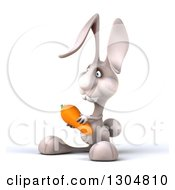 Clipart Of A 3d White Bunny Rabbit Facing Slightly Left And Holding A Carrot Royalty Free Illustration by Julos