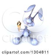 Clipart Of A 3d Blue Bunny Rabbit Holding Up A Waffle Ice Cream Cone Royalty Free Illustration